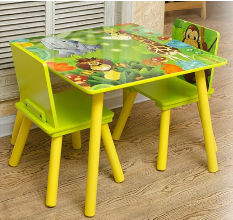 Kids Table and 2 Chairs For Toddler Baby Gift Desk Furniture Cartoon Sniper A+ 1
