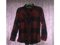 Red & Black chequered long sleeve flannel shirt