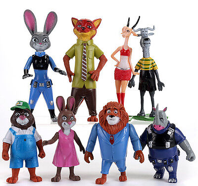 New Set of 8Pcs Dinsey Zootopia Judy Hopps Nick Wilde Movie Character Figures