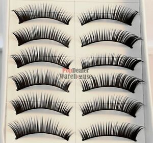 10 Pairs Handmade Natural Fake False Eyelashes Eye Lashes Jet Black + Free Glue