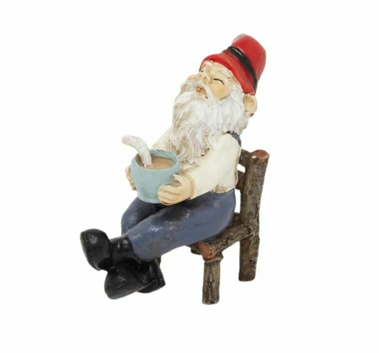 Miniature Fairy Garden Gnome Relaxing w/ Coffee - Buy 3 Save $5