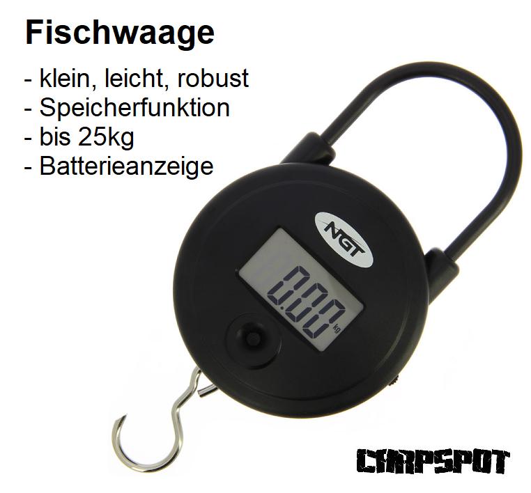 Digitale Fischwaage 25kg Angler Karpfenwaage Kofferwaage keine Analogwaage NGT