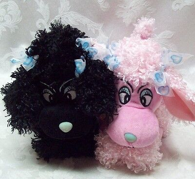 Toy Factory Paris French Poodles Curly Black & Pink Plush Stuffed Animal Laying (Black Poodle Stuffed Animal)