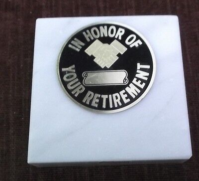 In Honor Of Your Retirement Paperweight Marble Award Metal Insert Personalized