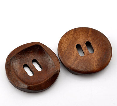 5 Dark Brown Coffee Wooden Buttons - 30mm (Approx. 1 1/8