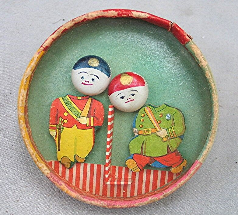 Large Vintage Dexterity Puzzle Game - Soldier and Policeman - Early Japan