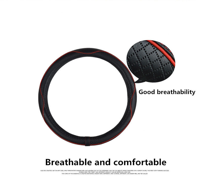 Real Leather Car Steering Wheel Cover Case Universal 38cm Anti slip Easy Clean