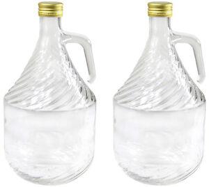 2 Stück 2 L Gärballon Weinballon Glasflasche Glasballon mit Schraubverschluß