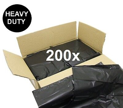 200 Heavy Duty Refuse Sacks Black Bin Liner Rubbish Bags Waste Bag 200g 18x29x39