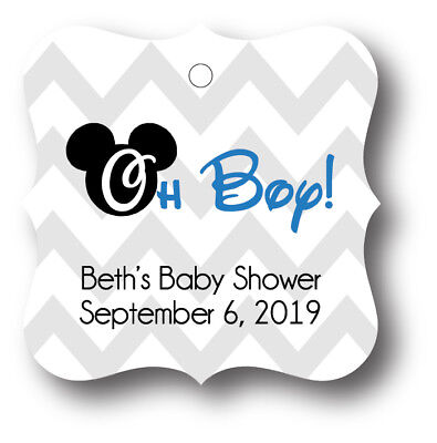 24 Mickey Mouse Baby Shower Favor Tag Personalized - Oh Boy! - Mickey Mouse Baby Shower Favors