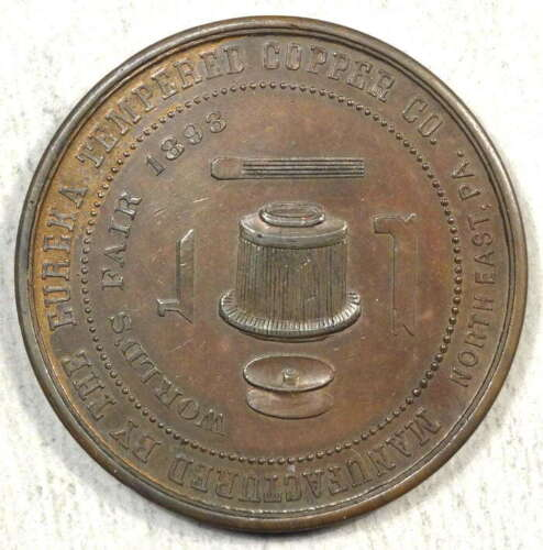 1893 Columbian Expo, Eglit 22, Eureka Tempered Copper Medal, Choice Almost Unc
