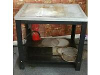 Silver restaurant preparation table