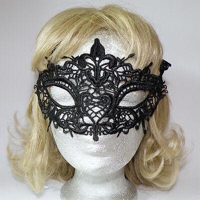 Filigrane Halbmaske * FLEUR DE LIS * schwarz * LACE Stoff Maske -Mardi Gras ()