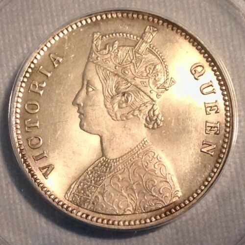 -1862 British India Queen Victoria One 1 Rupee ANACS MS 63 Choice Uncirculated