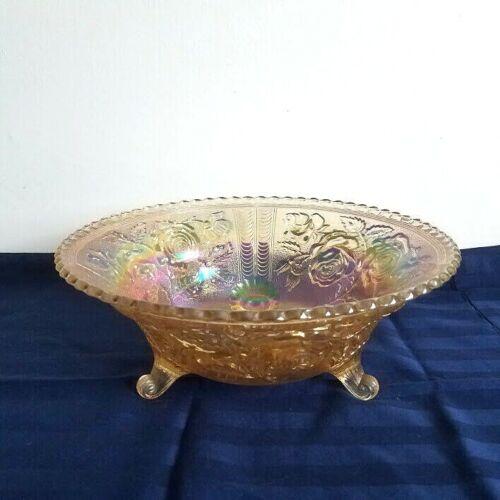 "Vtg Imperial Glass Carnival Rubigold Marigold Open Lustre Rose Footed 10.5"" Bowl"