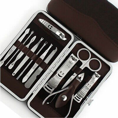 Deluxe 12PCS Pedicure Manicure Set Nail Clippers Cleaner Grooming Kit Case ()