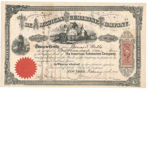 R44c on 1870 American Submarine Co. Stock Certificate ship vignettes