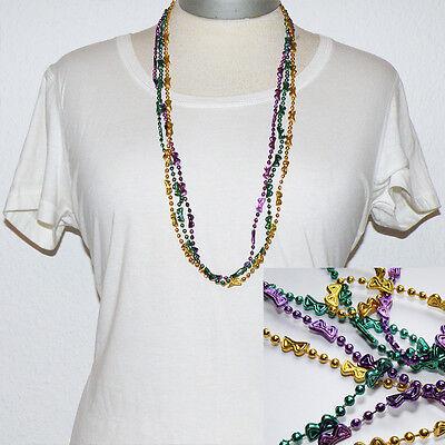 Perlen Ketten *3er Set* MASKE * lila-gold-grün * Karneval Mardi Gras Venedig