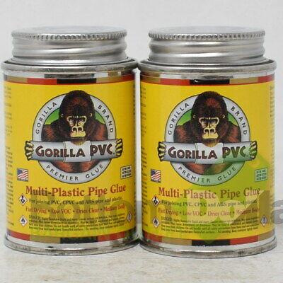 Gorilla Pvc Fast Dying Low Voc Multi-plastic Pipe Glue 4 Fl Oz Exp521 2 Pack