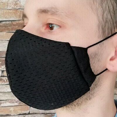Gr L Coolmax® Mesh Arbeitsmaske 8/h Mundschutz maske schwarz atmungsaktiv black