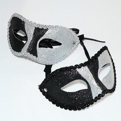 ske * GLITZER * schwarz-silber Harlekin KARNEVAL Mardi Gras (Silber Mardi Gras Mask)