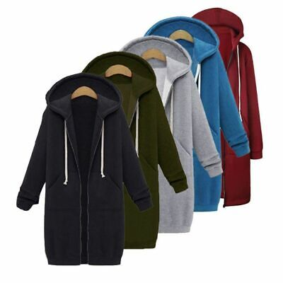Women Large Winter Warm Hoodie Sweater Hooded Zipper Long Jacket Coat Sweatshirt