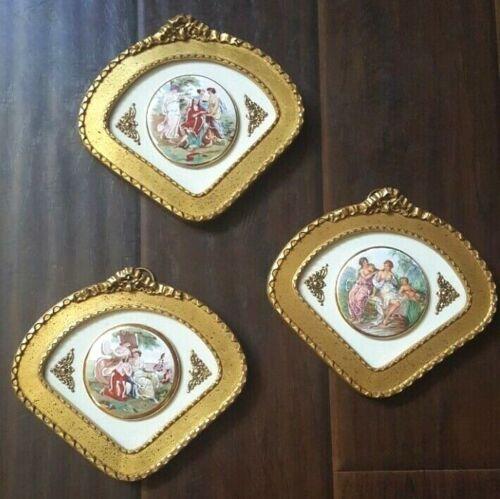 3 Vintage Ormolu Gilt Victorian Hand Painted Enameled Porcelain Plaques Framed