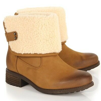 UGG Aldon Boots Water Resistant Leather Womens 5 Chestnut Folded Cuff Wool SALE ()
