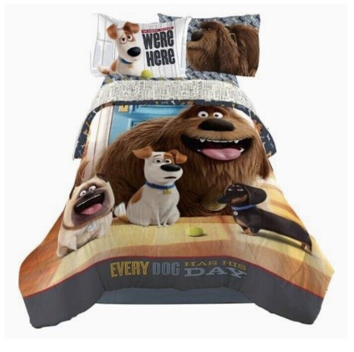 New 5 Pc The Secret Life of Pets Reversible Comforter and Full Sheet Set Bedding