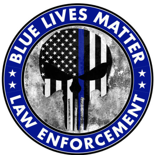 Blue Lives Matter Thin Line Punisher Hard Hat Sticker Police Officer Decal