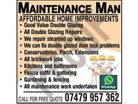 Maintenance Man & Handy man Home Repairs,Double Glazing Kitchen,Bathrooms,Fencing,Porch,Bargain Free