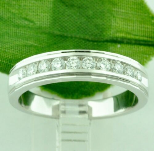 0.75 Ct 14k Solid White Gold Mens Diamond Ring Channel Set Made In Usa