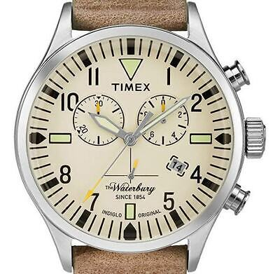 PRE-OWNED $120 Timex Waterbury Watch Leather Gents Quartz Chronograph TW2P84200