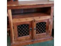 TV stand solid acacia hard wood jali style
