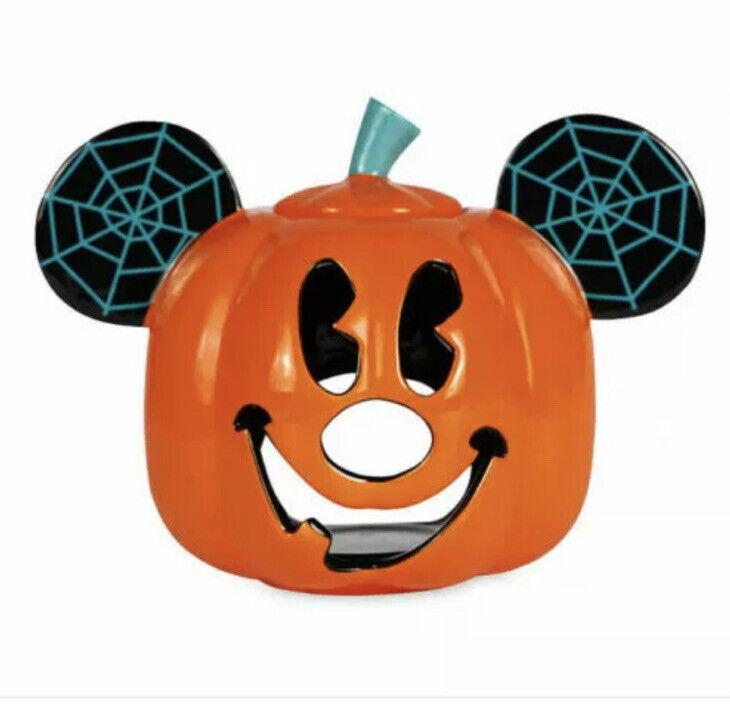 Disney Parks Halloween 2020 Mickey Pumpkin Boo! Ceramic Candle Holder New