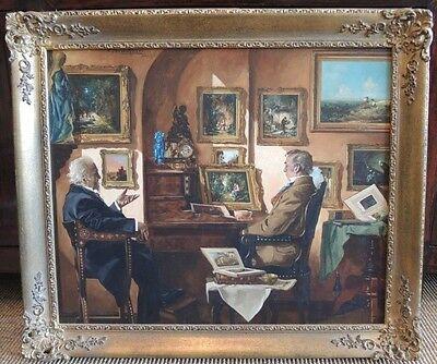 Ölgemälde von Curt Bruckner Öl auf Leinwand signiert Prunkrahmen Genremalerei