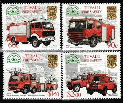 Fire Trucks Safety mnh set of 4 stamps 2001 Tuvalu #850-3