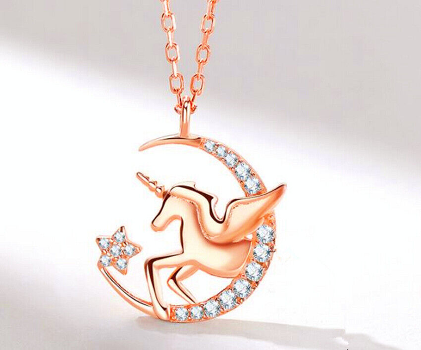 Jewellery - Moon Unicorn Crystal Pendant 925 Sterling Silver Chain Necklace Womens Jewellery