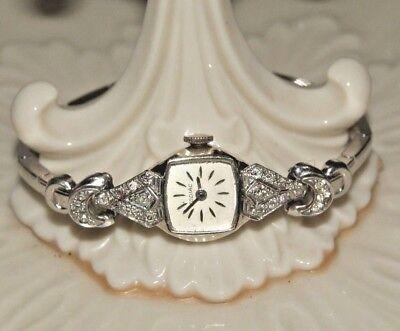 Vintage Diamond 14k White Gold  Zodiac Swiss  Estate Watch .50 ct. Rare Art Deco
