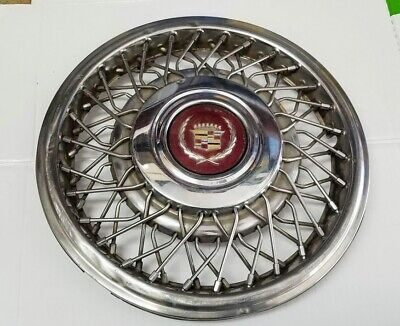 "1989-1993 Cadillac Deville Seville Eldorado 15"" FWD Wire Spoke Hubcap 2054 USED"
