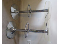 Pair Chrome and Clear Perspex adjustable breakfast or bar stools