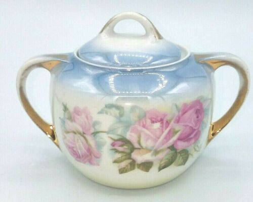 Antique Germany Sugar Bowl with Lid 2 Handles Hand Painted Pink Roses