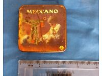 Vintage Meccano tin with Meccano nuts and bolts