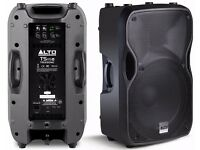 Pair of Alto TS115A 15 inch Active PA speakers + official Alto covers / cases
