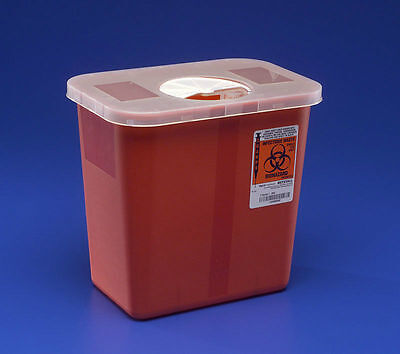 Sharps Disposable Biohazard Container 2 Gallon Red Covidien 8970
