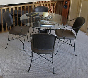 Glass Table & 4 metal/leather chairs