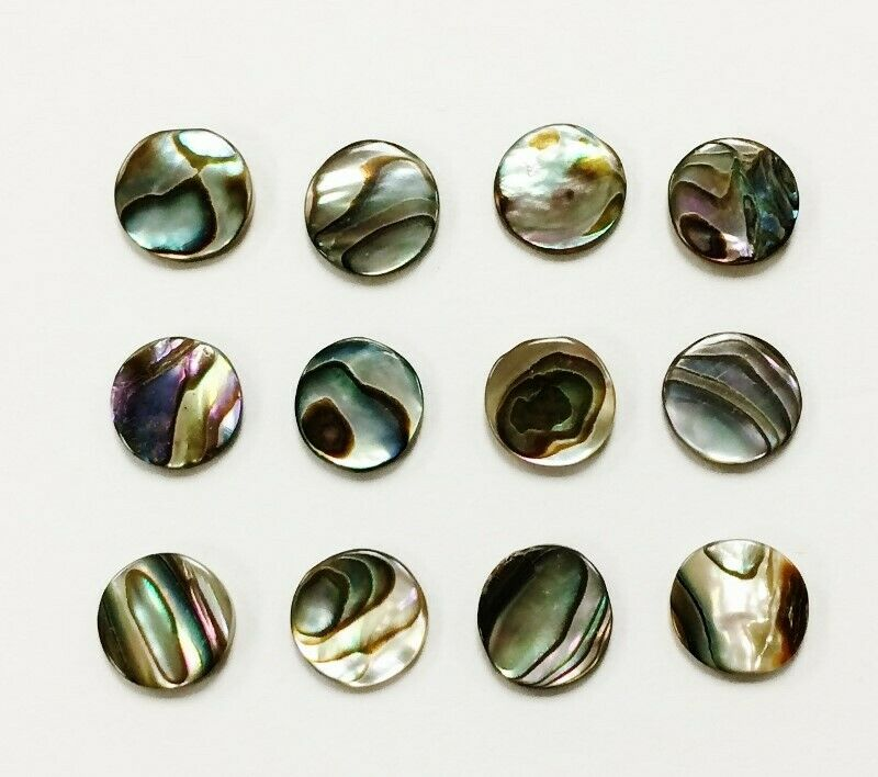 12 VINTAGE GENUINE ABALONE MOTHER OF PEARL PAUA SHELL 9mm. ROUND CABOCHONS 1246