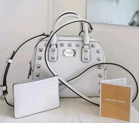 (Jo's post) Michael Kors optic white small SANDRINE BAG/FREE PURSE
