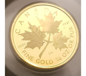 2001 Canada Gold Hologram Maple Leaf (1/4 oz) $10 - Orig Mint