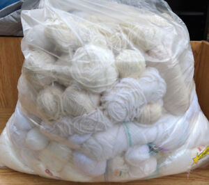Huge Bagful of Yarn - (15 lbs) - Mostly Cream Colored